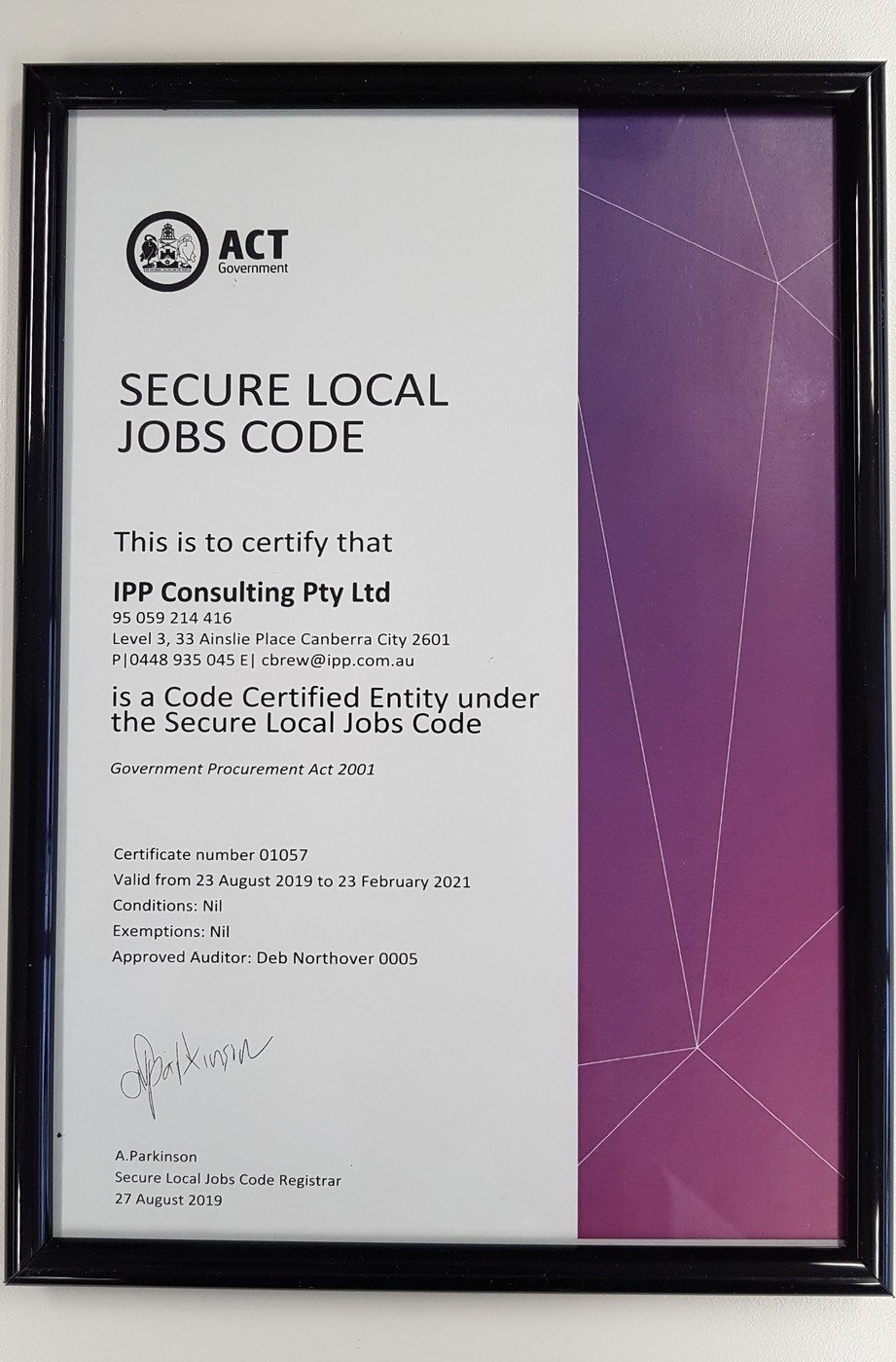 IPP Achieving Certificate for the Secure Local Jobs Code